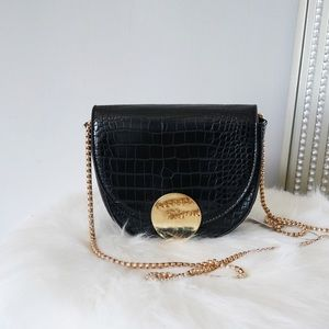 Black Textured Mini Clutch Bag